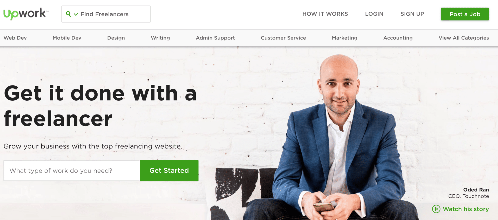 Upwork home page