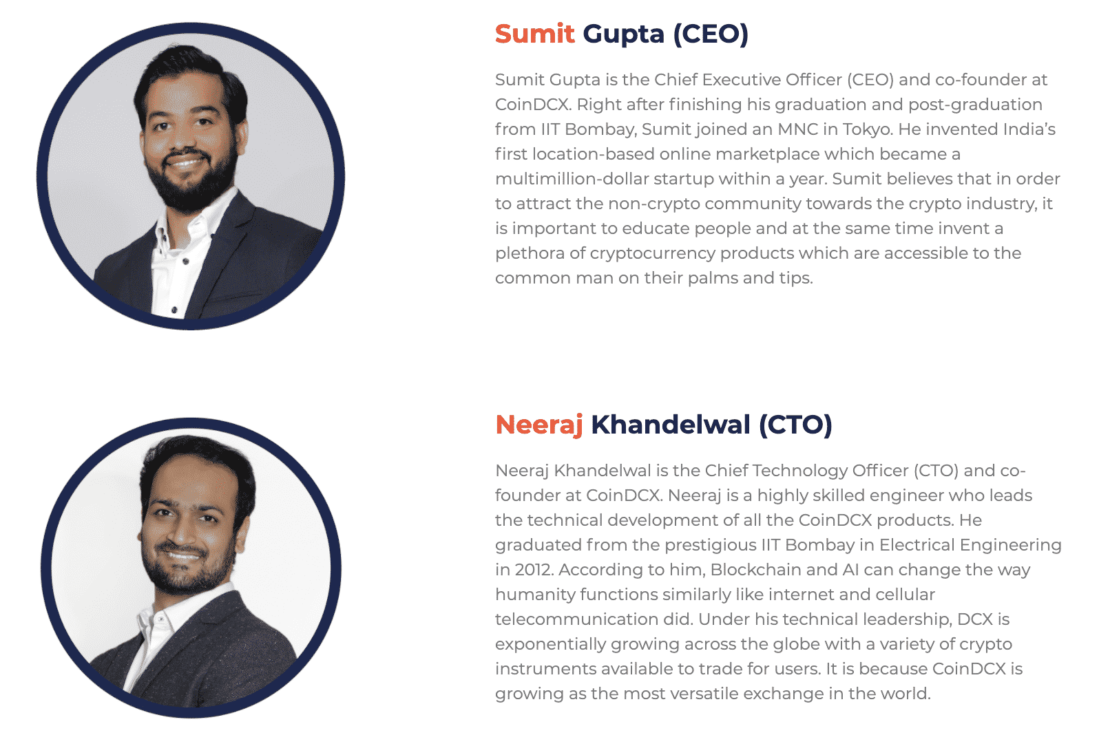 The site bios for CoinDCX Founders Sumit Gupta and Neeraj Khandelwal, courtesy CoinDCX